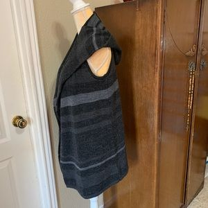 Cynthia Rowley Hooded Sweater Vest Black Striped